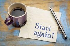 Beginnen Sie wieder Motivanzeige oder Rat Lizenzfreie Stockfotos