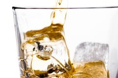 Beginnende gietende Schotse whisky in glas met ijsblokjes op wit Royalty-vrije Stock Afbeeldingen