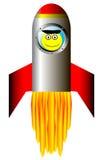 Beginnende raket met gelukkige astronaut stock illustratie