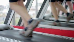 Beginner athlete walking and running on treadmill, sport club visitor exercising. Stock footage stock video