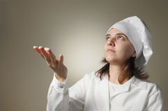 Beginner chef waiting for a miracle Royalty Free Stock Photos