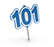 Beginner Courses, Number 101. 3D illustration of the number 101 over white background. Symbol of introductory courses Stock Image