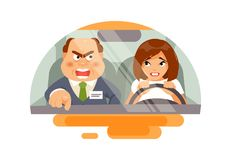 Beginner driver with an instructor. Beginner woman driver panicked and angry instructor. Training in a driving school. Vector humorous illustration Royalty Free Stock Photo