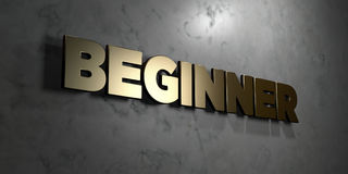 Beginner - Gold sign mounted on glossy marble wall  - 3D rendered royalty free stock illustration Royalty Free Stock Photos
