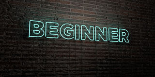 BEGINNER -Realistic Neon Sign on Brick Wall background - 3D rendered royalty free stock image Stock Images