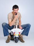 Beginner rider. Royalty Free Stock Images