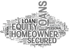 A Beginner S Look At Secured Homeowner Loans Word Cloud Royalty Free Stock Photos