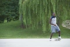 Beginner with skateboard Stock Photo