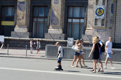 An beginner skater on a city street. Kiev. ukraine Royalty Free Stock Photo