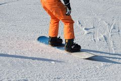 Beginner snowboarder Stock Foto's