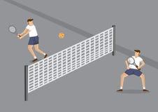 Beginner Tennis Players Cartoon Vector Illustration Stock Images