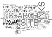 A Beginners Guide To The Importance Of In Bound Links To Your Website Word Cloud Stock Image