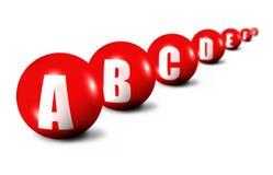 Beginning of alphabet. Focus set on first ball Stock Images