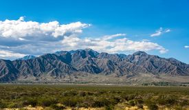 Panorama with mountain massif in the Argentine side of the Andes towards Mendoza stock images