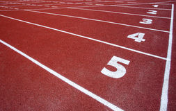 The beginning of the athletics track Royalty Free Stock Images