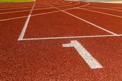 The beginning of the athletics track. Stock Image