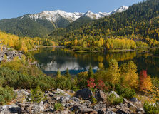 The beginning of autumn in mountains Royalty Free Stock Images