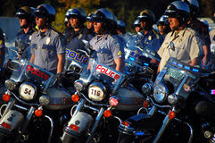 Beginning Ceremony. Picture of a line of Policemen at the Gulf Coast Police Motorcycle Skills Championship, held on Saturday, October 15, 2011 at Cabela's in Royalty Free Stock Images