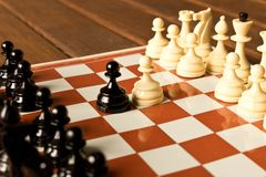The beginning of the chess game. The concept of the game of chess stock photo