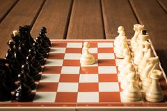 The beginning of the chess game. The concept of the game of chess stock images