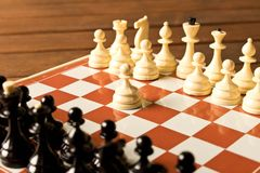 The beginning of the chess game. The concept of the game of chess stock image