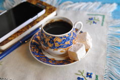 The beginning of the day: morning coffee with turkish delight stock photos