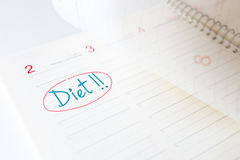 Beginning of the diet in a diary Royalty Free Stock Photos