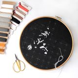 Beginning of embroidery on black canvas with woolen threads. Cross-stitch painting with Maine Coon Cat. stock photo
