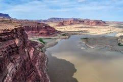 The Beginning of Glen Canyon. The Colorado River flows into the beginning of the Glen Canyon at Bullfrog, Utah stock photos