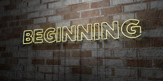 BEGINNING - Glowing Neon Sign on stonework wall - 3D rendered royalty free stock illustration Stock Image
