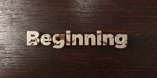 Beginning - grungy wooden headline on Maple  - 3D rendered royalty free stock image Stock Photos