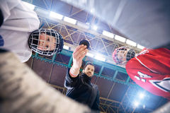 Beginning ice hockey games. Players beginning ice hockey games stock photography