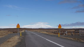 Beginning Kjolur route. Beginning of the Kjolur route still closed in spring in Iceland Royalty Free Stock Photos