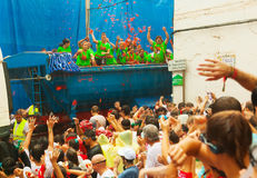 Beginning of La Tomatina festival Stock Image