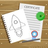 Beginning learn college, graduation and education start up. Certificate and pencil sketch rocket start off, vector illustration Stock Photography