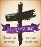 Beginning of Lent with Ash Wednesday Cross with Ribbon, Vector Illustration. Poster with traditional ash cross drawing and purple ribbon with biblical words in a Stock Photography