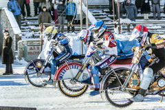 The beginning of a new arrival. Russia. The Republic Of Bashkortostan. The Ufa. Racing on ice. The Championship Of Russia. A final . February 1, 2014 Stock Photo