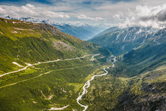 Beginning of Rhone river viewed from Furka pass Royalty Free Stock Images