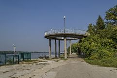 Beginning of the riverside park Ruse along river Danube Royalty Free Stock Photo