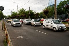 The beginning of the rush hour in Bucharest Romania Royalty Free Stock Photography