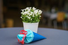 Beginning of school table decoration royalty free stock photos