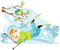 Beginning skier. Girl has fallen, skiing in winter forest Stock Image