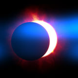 The beginning of a solar eclipse. 2d illustration of the beginning of a solar eclipse royalty free illustration