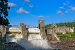 Beginning of spillway on Imatra power station dam Stock Image
