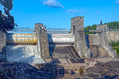 Beginning of spillway on Imatra power station dam Royalty Free Stock Photos