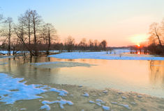 Beginning of spring flood. River Sukhodrev, Kaluga region, Russia Stock Photo