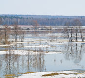 Beginning of spring flood Royalty Free Stock Photography