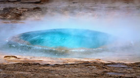 Beginning of Strokkur geyser eruption Stock Photography