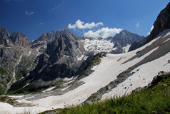 Beginning of summer in Dolomites: Sasso Vernale Stock Image