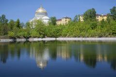 The beginning of summer in Kronstadt. View from the dock basin. Leningrad region Stock Photo